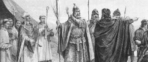 Koning Olaf 1, alias Olav Tryggvason, later Sint Olaf.