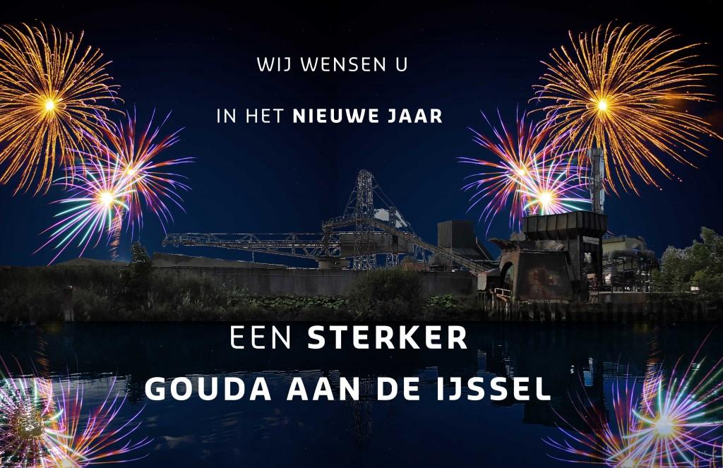 Centraal vuurwerk aan de Hollandsche IJssel in Gouda